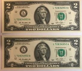 Two Crisp Federal Reserve $2 Bills