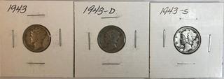 Three Mercury Dimes - 1943, 1943-D, & 1943-S