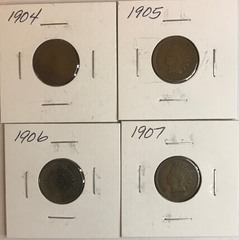 Four Different Indian Head Cents - 1904, 1905, 1906, & 1907