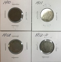 Four Different Liberty Nickels - 1910, 1911, 1912, & 1912-D