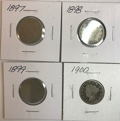 Four Different Liberty Nickels - 1897, 1898, 1899, & 1900
