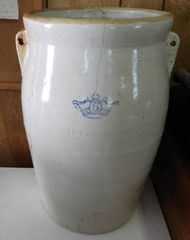 6 gallon ceramic crock with missing handle and