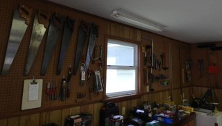 wall lot to include handsaws, scissors, chisels