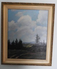 Oil on canvas depicting a mountain scene by