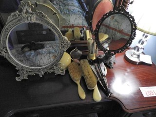 Manicure set with hairbrush, mirror and two
