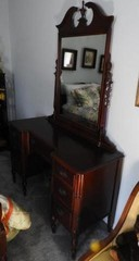 Cherry makeup vanity with attached mirror and