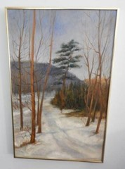 Oil on canvas depicting a snow scene by Elizabeth
