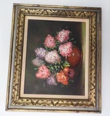 Oil on canvas depicting a flower scene by John