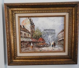 Oil on canvas depicting a European scene by