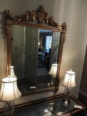 Gold leaf mirror with flower type trim 34? x52
