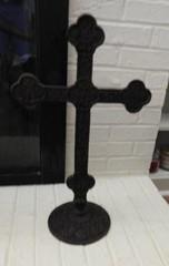 Iron Crucifix with round iron base 24? tall