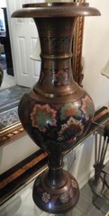 Oriental style brass painted lamp with brass