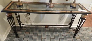 Glass top table with iron base 18? x 56?