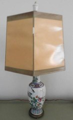 Oriental style table lamp with brass base 24