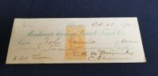 1872 C.H. McCormick signed check
