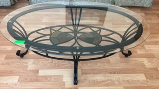 Beautiful glass/wrought iron coffee table 48