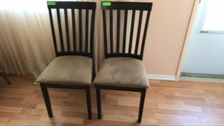 Wooden /suede chairs set of two