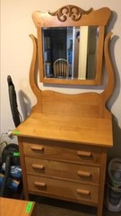 Antique solid wood stand dresser with beveled