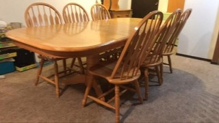 Solid pine pedestal base dining table with six