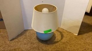 Small baby blue table lamp. 13.5in. No chips or