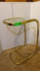 Brass side table w/ glass top 20x9.5x14in