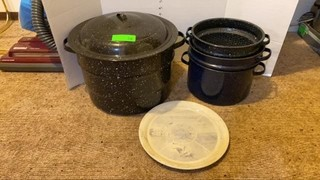 Enamelware canners. One large w/ lid & lifter,