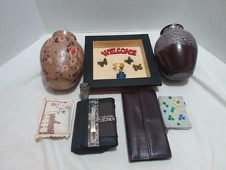 Welcome Decor, Purses, Vases, misc Lot