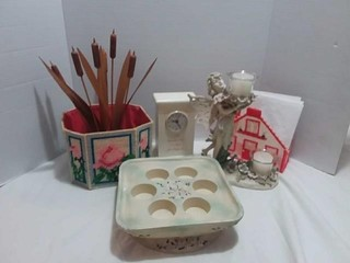 Fairy Candle Holder, Clock, Wooden Reeds, misc lot