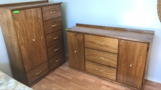 Solid wood dresser 58 x35 in and armoire 54x42 in
