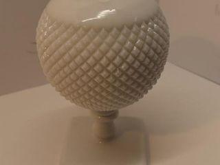 White Glass Round Pedestal Vase