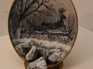 Painted Deer Scene on Stand signed