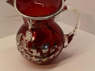 Silver Overlay Red Glass Pitcher
