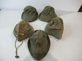 lot of 5 Assorted OD Green Field Caps