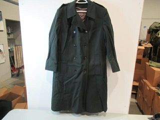 Mens Green Army Dress Overcoat  Size Small Short