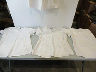 4  As Is White Scrubs Tops  Size  large