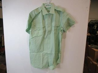 Mens Green Short Sleeve Dress Shirt  Size 18