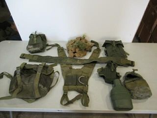 lot of Web Belt  Assorted Packs  Canteen   Camo