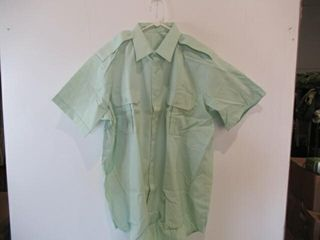 2  Mens Green Short Sleeve Dress Shirt Sz 18