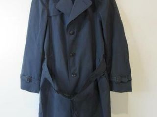 Mens Blue Dress Rain Overcoat Size 36 Regular