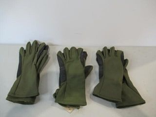 3  As Is Pairs Green Gloves Size X Small
