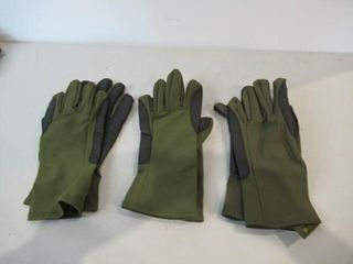 3  As Is Pairs green Gloves Size Medium