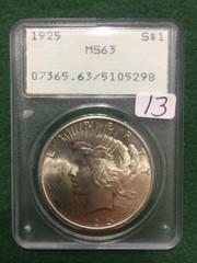 1925 PCGS MS63 Peace Dollar
