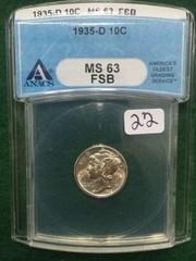 1935-D ANACS MS63 FSB 10 Cent