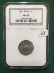 1883 NGC MS62 5¢ U.S. Shield Nickel