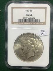 1926 NGC MS62 $1 U.S. Silver Peace Dollar