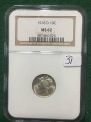 1918-D NGC MS62 10¢ U.S. Silver Mercury Dime