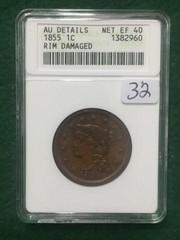 1855 ANACS AU Details 1¢