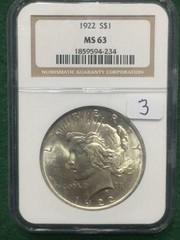 1922 NCG MS63 Silver Peace Dollar