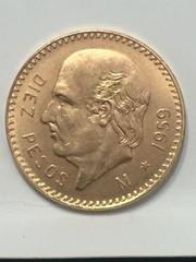 1959 Gold $10 Peso Mexican Gold Coin