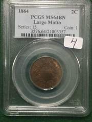 1864 PCGS MS64 BN 2C Coin